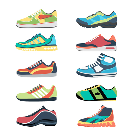 Ilustración de Sports shoes vector set. Fashion sportwear, everyday sneaker, footwear clothing illustration - Imagen libre de derechos