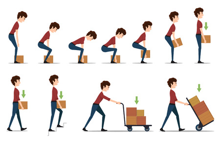 Ilustración de Safe handling and transportation of heavy items. Box and man, cargo and worker, delivery cardboard, distribution and weight, vector illustration - Imagen libre de derechos