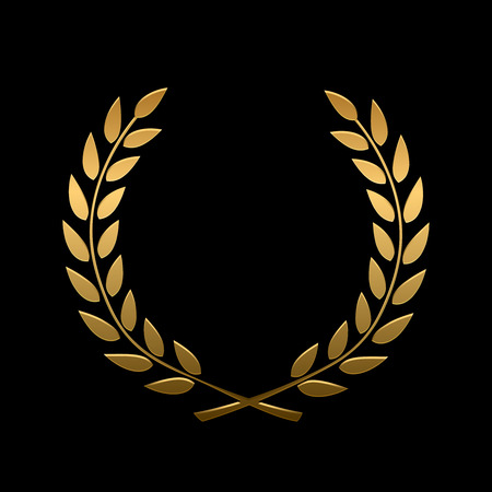 Illustration pour Vector gold award laurel wreath. Winner label, leaf symbol victory, triumph and success illustration - image libre de droit