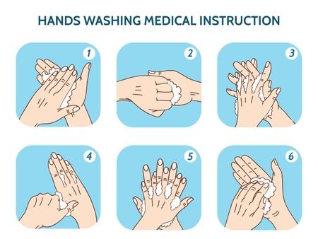 Illustration pour Hands washing medical instruction vector icons set. Water and clean, care hygiene illustration - image libre de droit