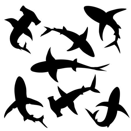Ilustración de Shark vector silhouettes set. Sea fish, animal swimming, fauna illustration - Imagen libre de derechos