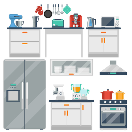 Illustration pour Flat vector kitchen with cooking tools, equipment and furniture. Refrigerator and microwave, toaster and cooker, blender and grinder illustration - image libre de droit