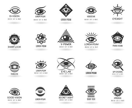Photo for Eye logos vector set. Icon vision, eyeball look, circle element,  vector illustration - Royalty Free Image