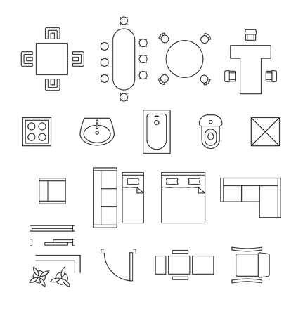 Illustration pour Furniture linear symbols. Floor plan icons set. Interior and toilet, washbasin and bath, table and chair illustration - image libre de droit