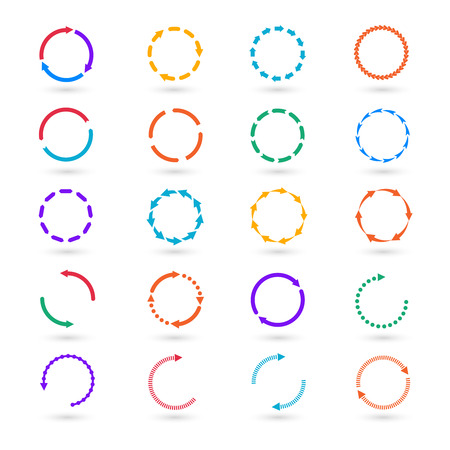 Illustration pour Circle arrows infographic elements set. Circular step, cycle process, information and round illustration - image libre de droit
