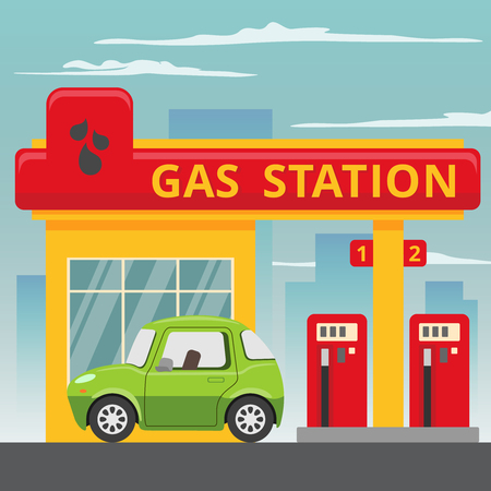 Illustration pour Petrol gas station concept in flat design style. Fuel and energy,  pump and car, transportation industry.  - image libre de droit
