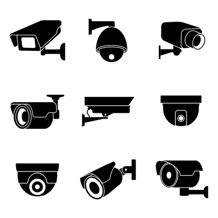 Ilustración de Security surveillance camera, CCTV icons set. Private protection safety, surveillance and watching illustration - Imagen libre de derechos