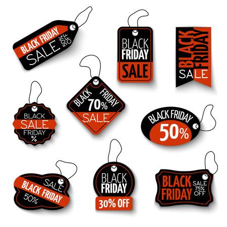 Ilustración de black friday sales tag and banners set. Discount and price, design label, offer and retail illustration - Imagen libre de derechos