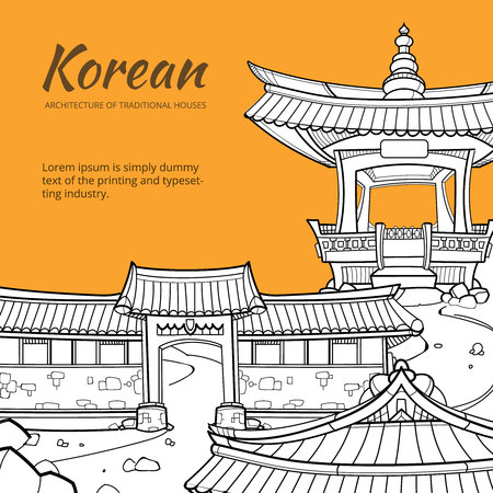 Illustration for Background with Korean architecture of traditional houses. illustration in hand drawn style. Street traditional house, architecture asia, village or city or town culture asian - Royalty Free Image