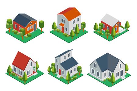Ilustración de Isometric 3d private house, rural buildings and cottages icons set. Architecture real estate, property and home, vector illustration - Imagen libre de derechos