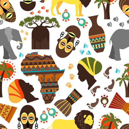 Illustration pour Africa seamless pattern. Baobab and nationality tribe mask, aborigine and track, fauna and flora, elephant and lion, vector illustration - image libre de droit