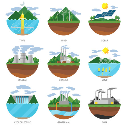 Ilustración de Generation energy types. Power plant icons vector set. Renewable alternative, solar and tidal, wind and geotermal, biomass and wave illustration - Imagen libre de derechos