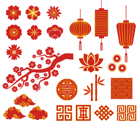 Illustration pour Chinese, Korean or Japan decorative vector icons for Chinese New Year - image libre de droit