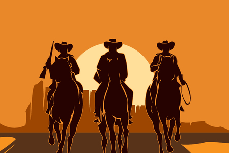 Ilustración de Cowboys riding horses in desert. Freedom man silhouette, sun and landscape, people american. Vector illustration - Imagen libre de derechos