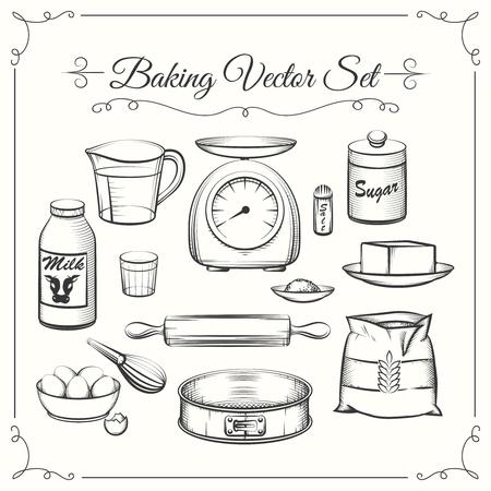 Ilustración de Baking food ingredients and kitchen tools in hand drawn vector style. Food cooking pastry, sieve and scales, flour and sugar illustration - Imagen libre de derechos