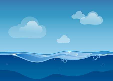 Illustration pour Water ocean seamless landscape sky and clouds. Cartoon background game design. Nature sea blue wave, vector illustration - image libre de droit