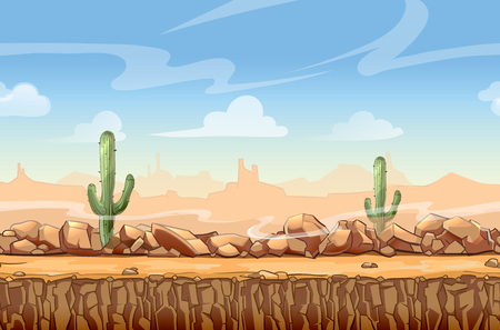 Illustrazione per Wild West desert landscape cartoon seamless background for game. Cactus and nature, interface vector illustration - Immagini Royalty Free