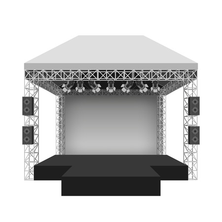 Illustration pour Podium concert stage. Performance show entertainment, scene and event. Vector illustration - image libre de droit