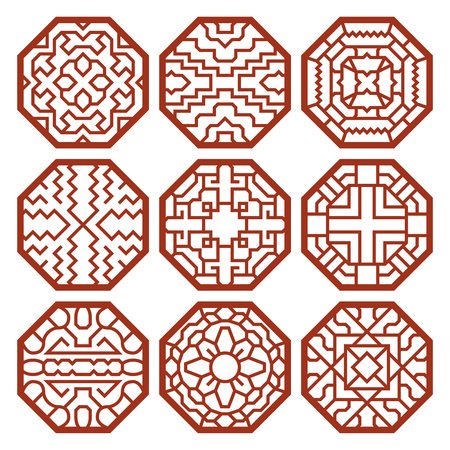 Illustration for Korean traditional vector patterns, ornaments and symbols. Decoration asian, texture abstract illustration - Royalty Free Image