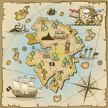 Illustration pour Pirate treasure island vector map. Sea ship, adventure ocean, skull and paper, navigation art and cannon illustration - image libre de droit