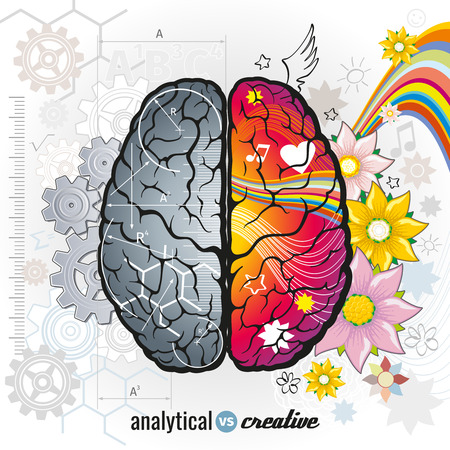 Illustration pour Left analytical and right creativity brain functions vector concept illustrations. Human intelligence, design left and right mind, intellect psychology illustration - image libre de droit