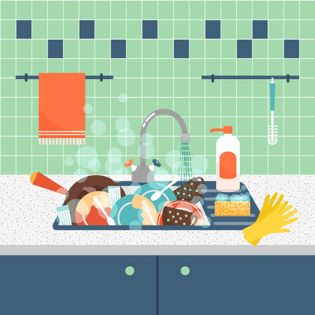 Illustration pour Kitchen sink with dirty kitchenware and dishes. Mess and sink, dirty and kitchenware, wash sponge. Vector illustration - image libre de droit
