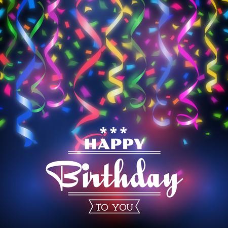 Illustrazione per Typographic happy birthday vector background. Design celebration, party invitation decoration illustration - Immagini Royalty Free