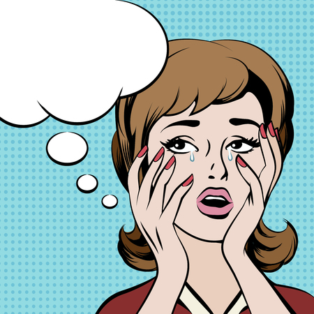 Illustrazione per Crying frustrated woman with empty speech bubble. Girl thought, female retro sad, vector illustration - Immagini Royalty Free