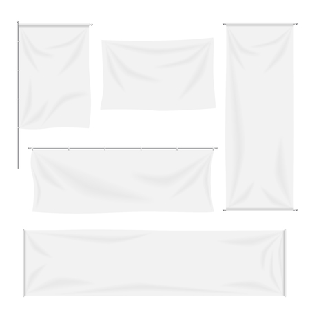 Illustration pour White flags and textile banners folds template set. Canvas and blank banner, fabric cloth, advertising empty, vector illustration - image libre de droit