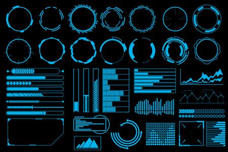 Illustration pour Futuristic user interface elements vector set. Web banner, abstract bar info graphic, design illustration - image libre de droit