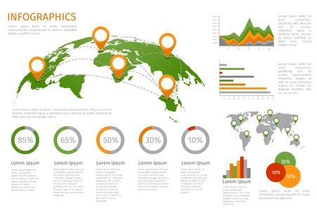 Illustration pour World map 3D with set of infographics elements. Design information, business graph and chart. Vector illustration - image libre de droit