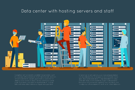 Illustration pour Data center with hosting servers and staff. Computer technology, network and database, internet center, communication security room, vector illustration - image libre de droit