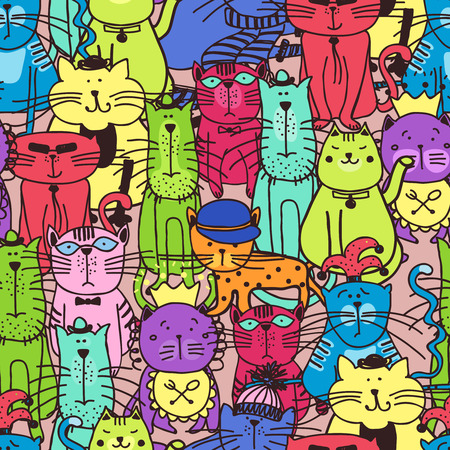 Illustration for Seamless doodle cat pattern. Animal pet kitten, art fabric, illustration - Royalty Free Image