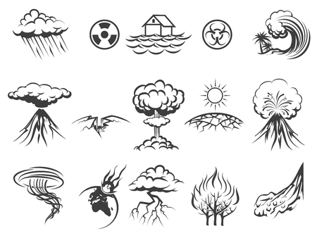 Ilustración de Natural disaster icons set. Tornado and radiation, apocalypse and typhoon, asteroid and flood, fire and storm, illustration - Imagen libre de derechos