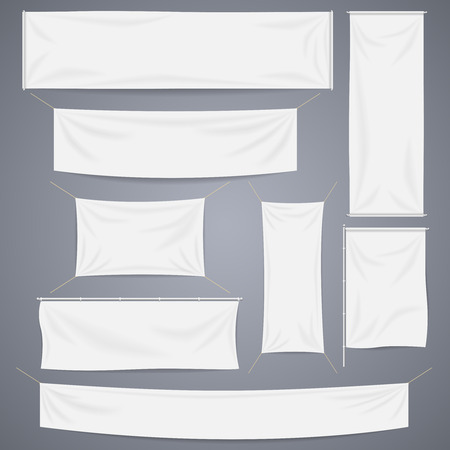 Illustration for White textile banners with folds template set. Separate shadow. Cotton and canvas, flag blank, advertising empty, illustration - Royalty Free Image
