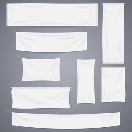 Ilustración de White textile banners with folds template set. Separate shadow. Cotton and canvas, flag blank, advertising empty, illustration - Imagen libre de derechos
