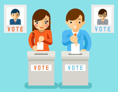 Illustration pour People vote candidates of different parties. Election voting, ballot and politics, choice democracy, illustration - image libre de droit