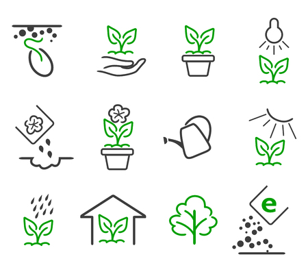 Illustration pour Line sprout and plant growing icons set. Linear nature leaf, grow tree, garden and flower, organic gardening, eco flora, illustration - image libre de droit