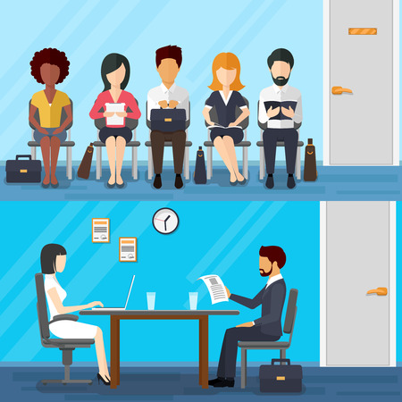 Illustration pour Business people waiting  job interview. Waiting businesswoman and businessman. Recruitment concept  flat design style. illustration - image libre de droit