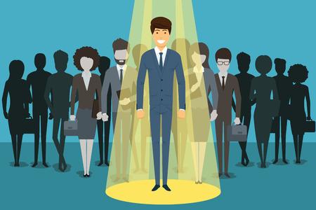 Illustration pour Businessman in spotlight. Human resource recruitment. Person success, employee and career. illustration concept background - image libre de droit
