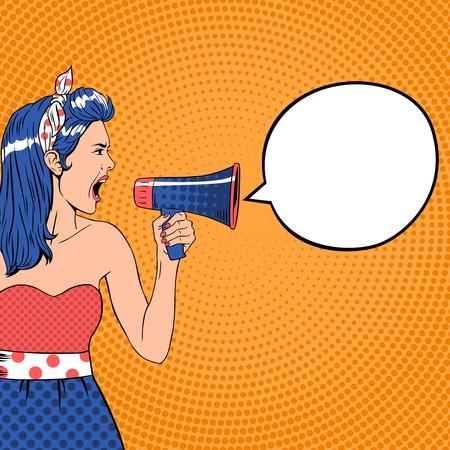 Illustration pour Pop art girl with megaphone and speech bubble. Loud and communication, announce shouting, retro announcement speaker, message voice, vector ilustration - image libre de droit
