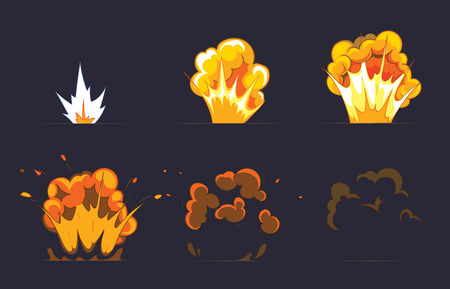 Illustration pour Cartoon explosion effect with smoke. Effect boom, explode flash, bomb comic, vector illustration. Animation frames for game - image libre de droit