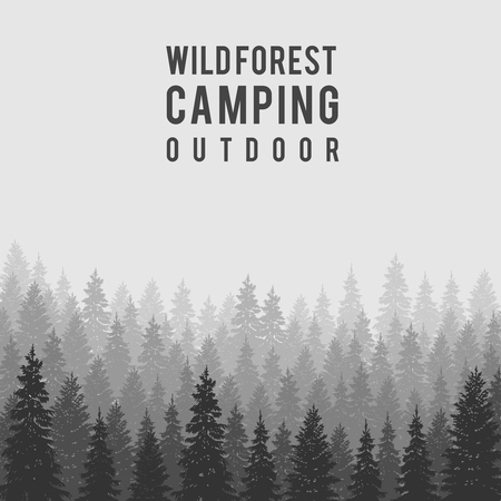 Ilustración de Wild coniferous forest background.  Pine tree, landscape nature, wood natural panorama. Outdoor camping design template. Vector illustration - Imagen libre de derechos