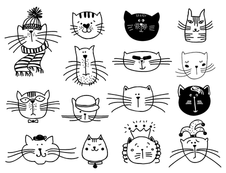 Illustration pour Cute cat heads set in hand drawn. Pet animal vector illustration - image libre de droit