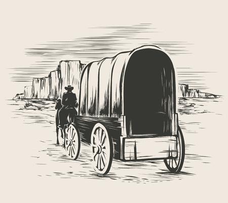 Illustration pour Old wagon in wild west prairies. Pioneer on horse transportation cart, vector illustration - image libre de droit