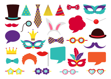 Ilustración de Party Birthday photo booth props. Hat and mask, costume and cylinder, bunny ears nose moustache. Vector illustration collection - Imagen libre de derechos