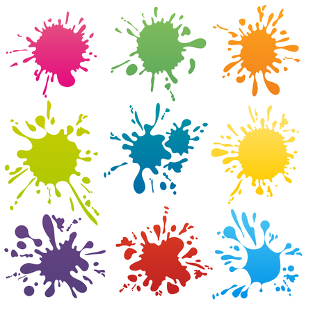 Illustration pour Colorful ink spots set. Splash splatter abstract shape. Vector illustration - image libre de droit