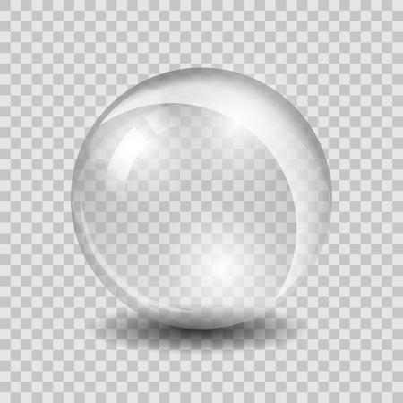 Ilustración de White transparent glass sphere glass or ball, shiny bubble glossy, vector illustration - Imagen libre de derechos