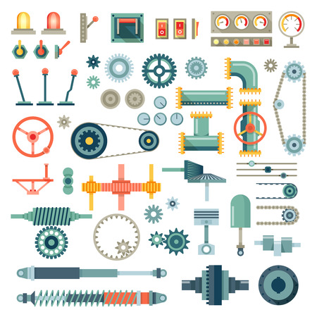 Ilustración de Parts of machinery flat icons set. Gear mechanical, equipment part, industry technical engine mechanic, vector illustration - Imagen libre de derechos