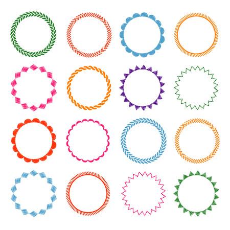Illustration pour Embroidery stitches circle frames set. Decorative, round element, vector illustration - image libre de droit